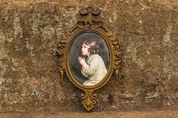 """Joshua Reynolds """"The Infant Samuel"""" Print in Italian Victorian Scroll Brass Frame / Roses / Infant / Religious / Angel / Boudoir / Filigree"""