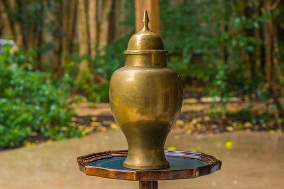 1950's Solid Handmade Indian Brass Urn with Lid / Ginger Jar / Mourning / Altar Decor / Gothic Decor / Vintage Brass Vase / Tea Caddy / Ash