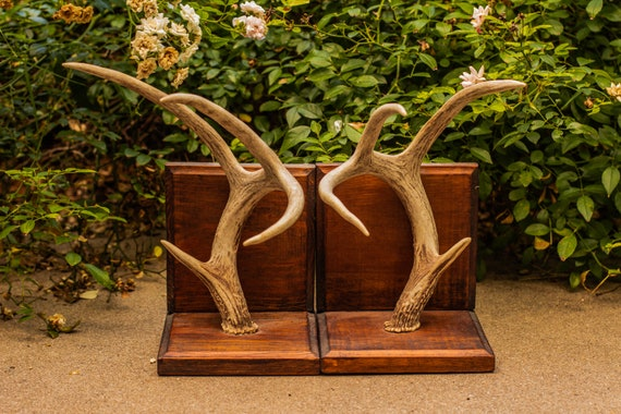 Vintage Handmade Real Deer Antler and Wood Bookends / Library / Study / Mancave / Student / College / Graduate / Law School / Teacher