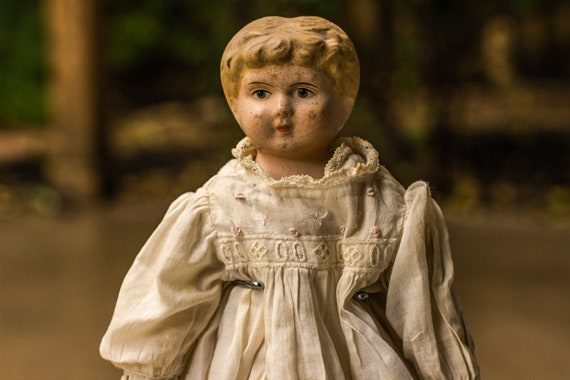Early 1900's Blonde German Tin Head Minerva Doll with Celluloid Hands Including Handmade Original Dress Crocheted Shoes and Wood Doll Stand