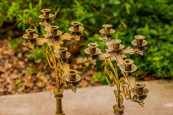 Late 1800's One of a Kind Antique French Budded Brass Cross Candelabras / Catholic / Altar / Religious / Christian / Jesus / Witchy / Church