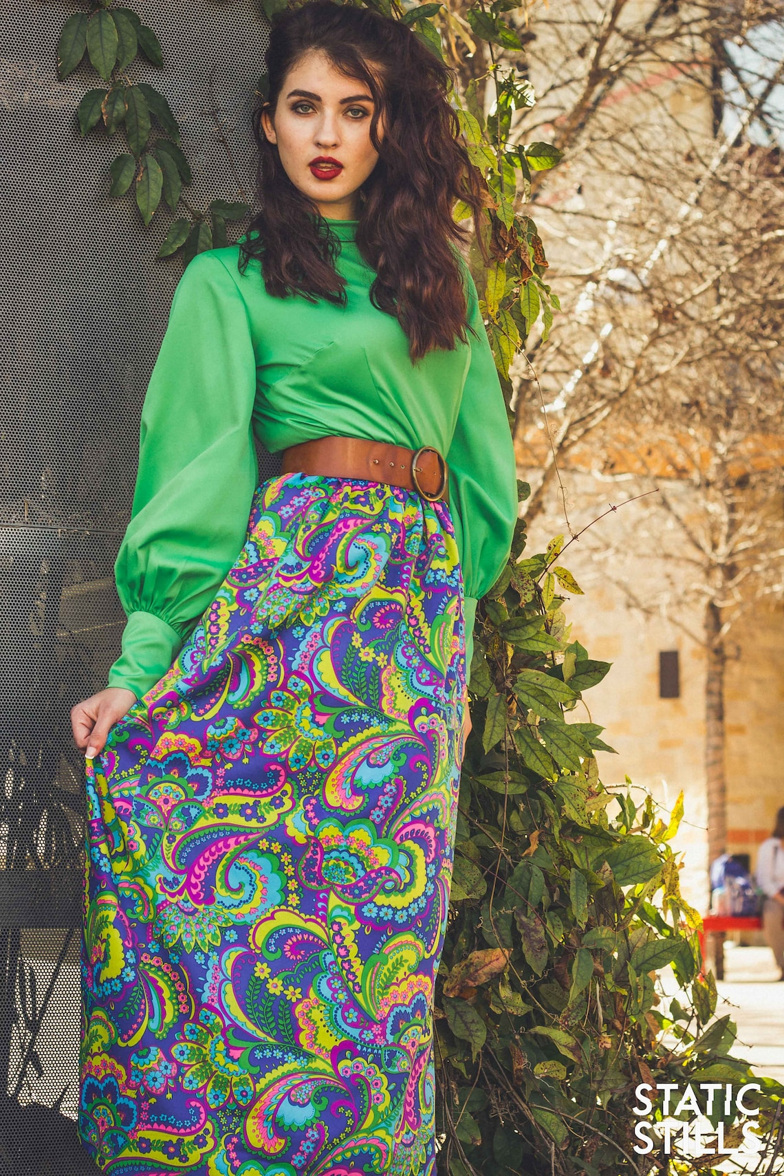 1960's M-L Groovy Handmade Lime Green and Blue Paisley