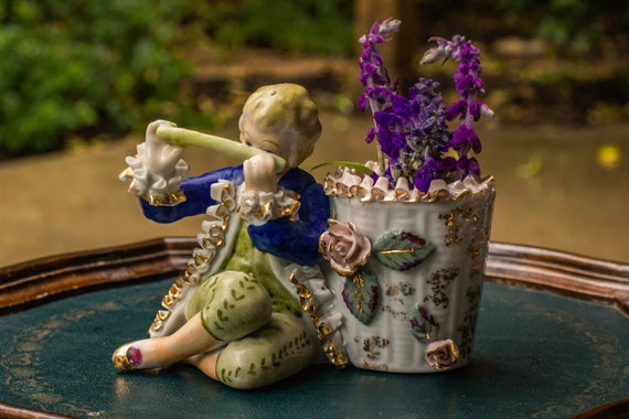 1950's Gilded Ceramic Planter of a Colonial Boy Playing Flute / English Boy / Midcentury / Pink Roses / Plant Addict / Wedding Gift / MCM