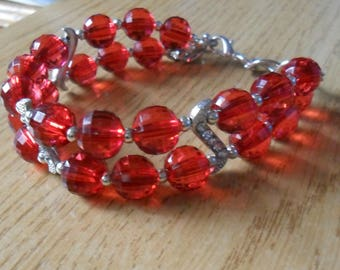 Red bracelet with rhinestones