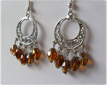 Earrings silver candlesticks with Brown elongated beads
