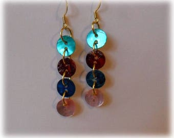 Earrings made of colorful and bright buttons
