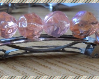 Pink Pearl spring silvery hair slides
