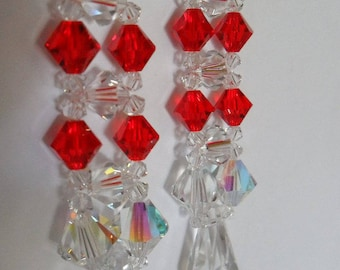 Transparent and Red bicone swarovski crystals earrings