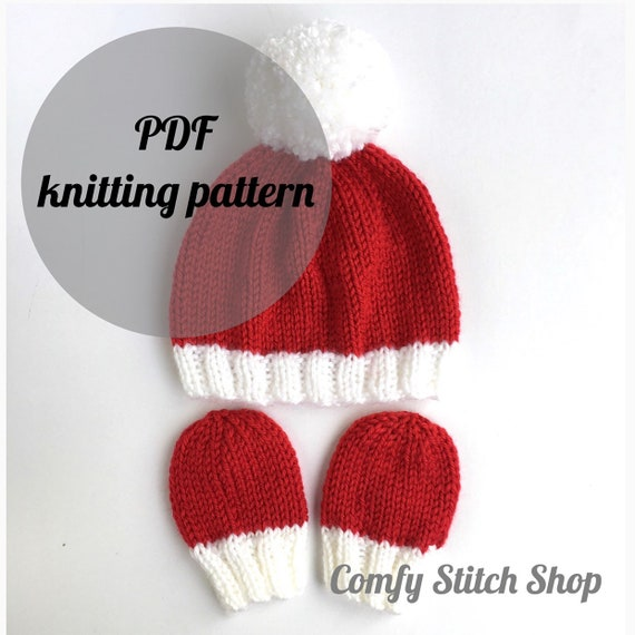 Knitting pattern infant Santa hat with mittens baby hat knit  a75e5902591