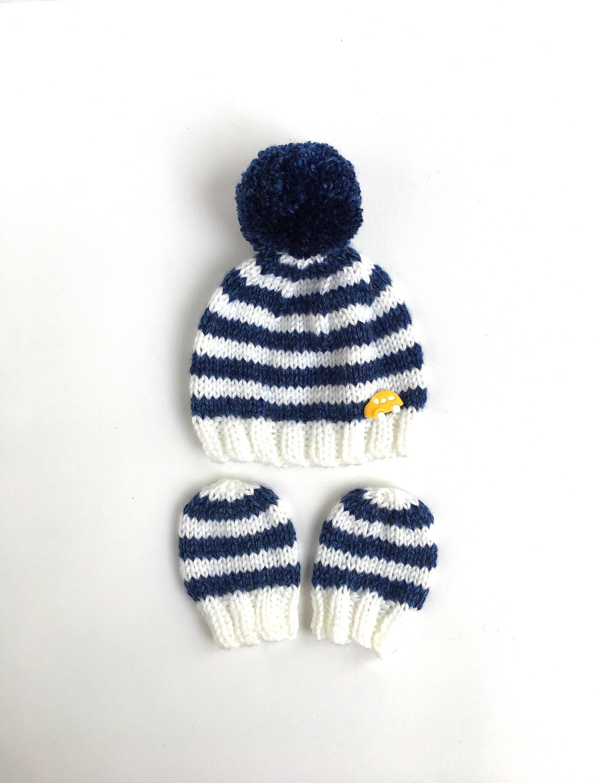 Baby boy beanie Striped baby boy hat Newborn knit hat with  f17a23808fc