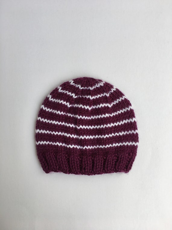 Ready to ship Simple newborn striped hat Knitted baby hat  8f285f18428