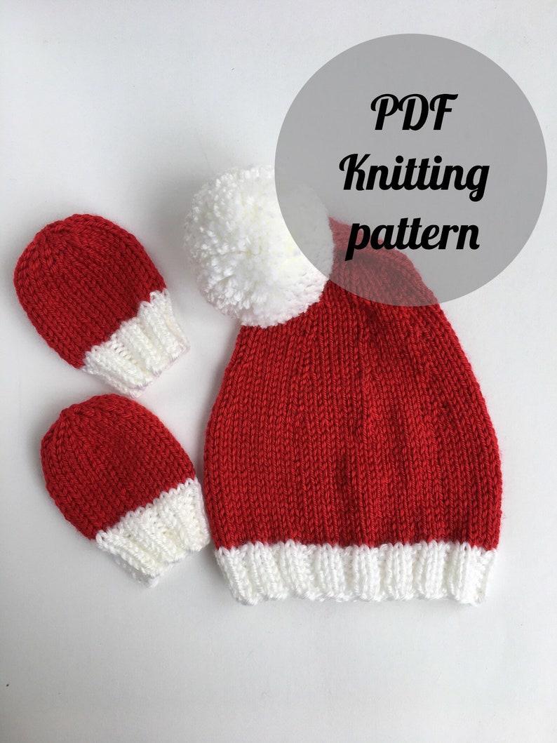 Easy Newborn Santa hat knit pattern baby mittens knitting ...