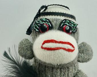 Sock Monkey / Baby Black Swan / Ballerina / Oddities / Gift for Dancer / Gift for Ballerina / Funny gift /  Black feathers / Ballet slippers