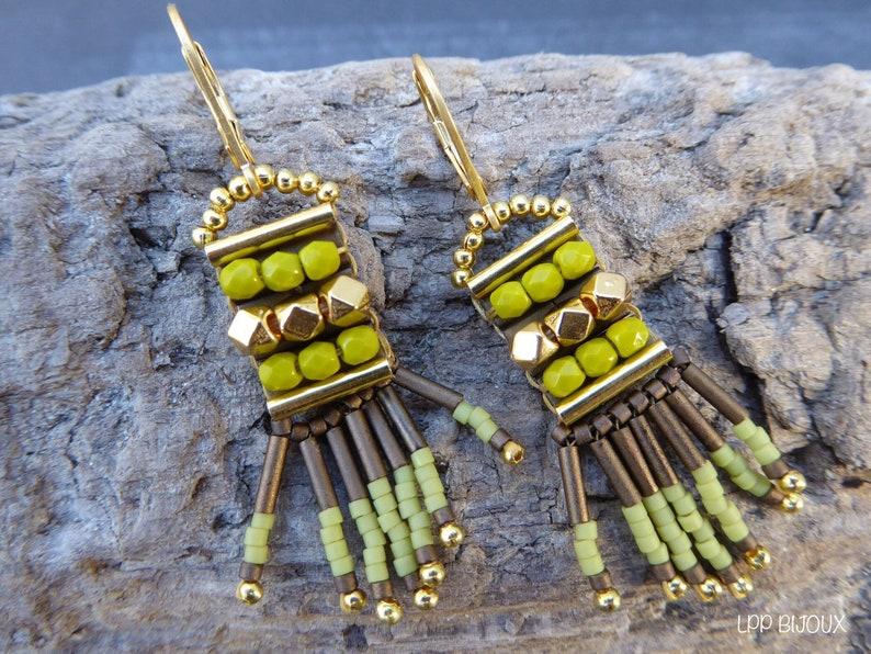 original brown green boho earrings Ethnic green rock beads earrings