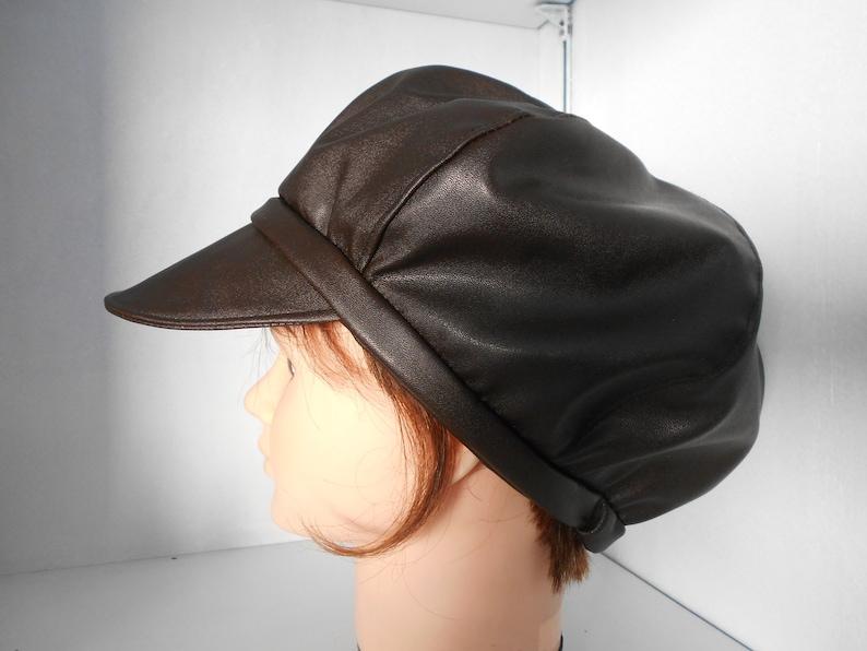 0e03b9eb91998 Faux leather newsboy cap   Hat woman   waterproof Hat   rain