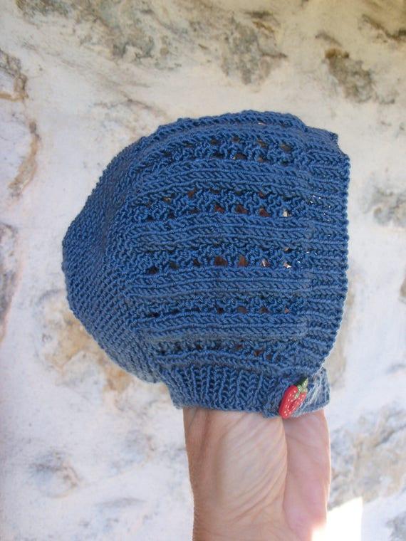 Béguin bonnet bébé naissance à 3 mois tricoté main   Etsy 042a03ea91a