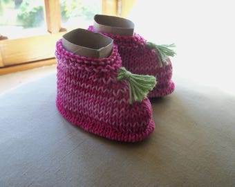 Knitted baby booties pink ombre cotton