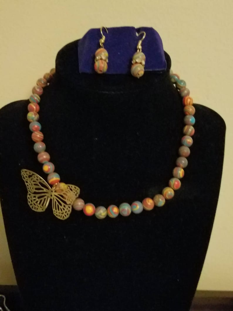 Multicolor Rainbow Bead Necklace with Gold Butterfly Pendant and Matching Earrings
