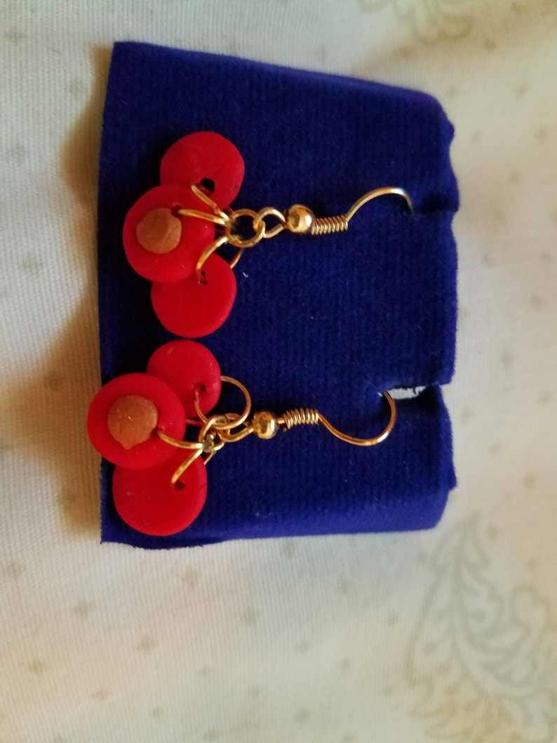Resembles Indian Traditional Style Necklace and Earrings Intricate Red and Gold Handmade Polymer Clay Jewelry Set with Coral Beads