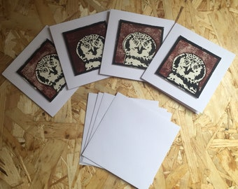 Set of 4, Handmade lino print Owl cards.
