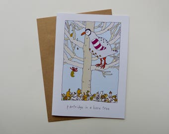 Partridge in a bare tree, Festive card, funny, partridge, Christmas card