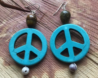 Turquoise Peace Earrings