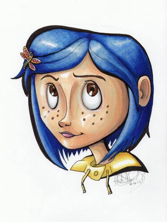 Coraline Head Shot Marker Artwork Etsy