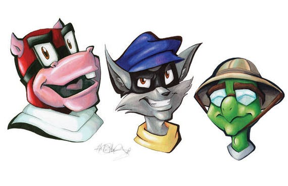 Sly Cooper Stuffed Animal, Sly Cooper Murray Bentley Gang Head Shot Marker Artwork Etsy