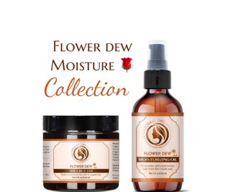 Moisturizing Flower Dew Hair Oil and Butter  | made with 100% organic shea butter, botanical and essential oils | Adorani Organics