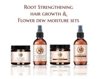 Two Sets - Growth Oil and Butter PLUS Flower Dew Oil and Butter  | combat hair loss and dryness |  All Natural by Adorani Organics