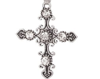 Cross set of crystal clear 45 x 36 mm, Crystal Antique silver pendants