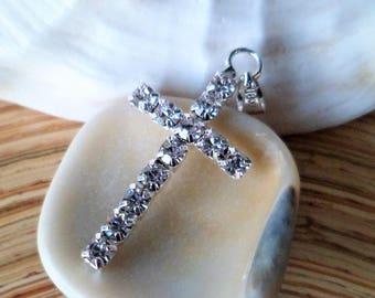 1 silver cross pendant and rhinestones 33 mm
