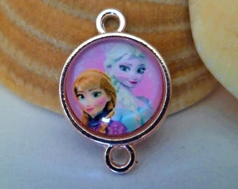 1 Connector 2 links + frozen 20 x 14 mm Cabochon