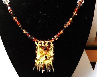 Statement Woman's Beaded Necklace, Original Woman's Beaded Necklace, Boho Gift Wife, Delica Beads in Peyote Stitch, Gift Jewelry Wife