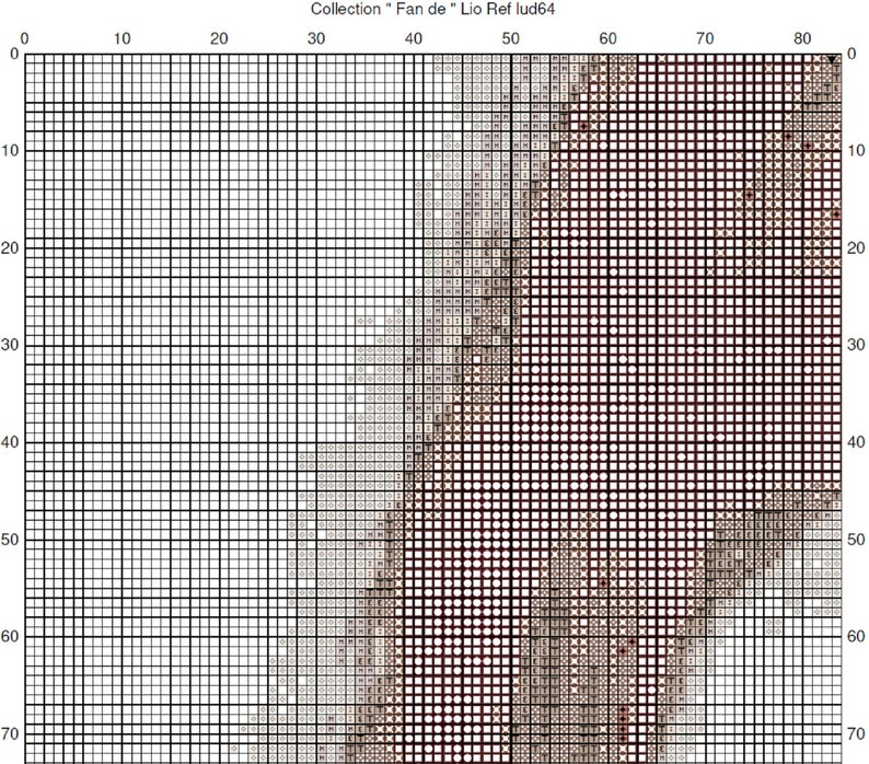 Counted cross stitch pattern Celebrity Lio  Grille point de croix compt\u00e9 C\u00e9l\u00e9brit\u00e9 Lio