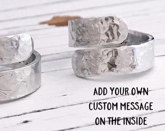Custom Hammered Secret Message Inspirational Aluminum Wrap Ring, Custom Message Ring, Motivational Ring, Silver Wrap Ring
