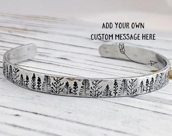 Tree Bracelet Best Friend Gift Forest Jewelry Hand Stamped Bracelet