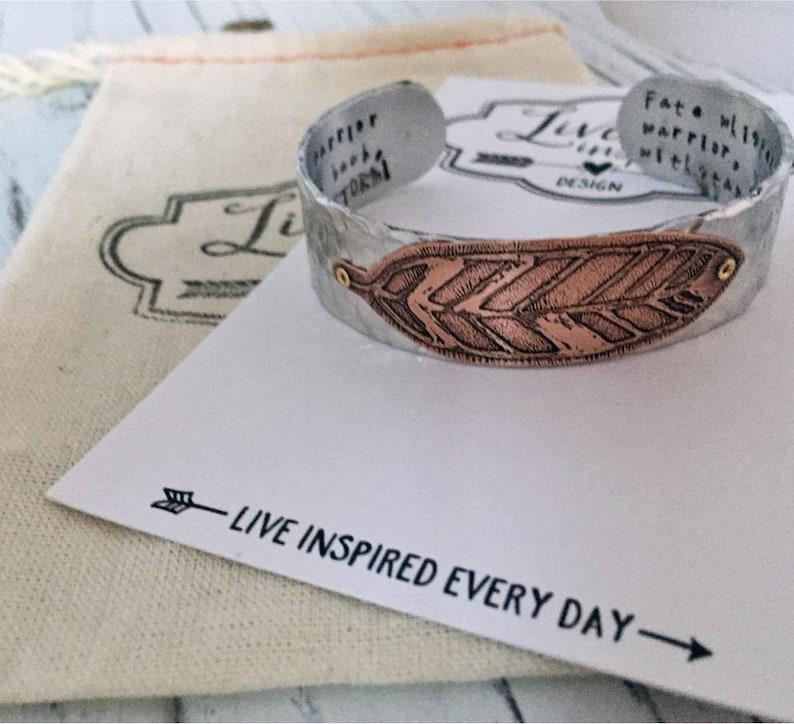 Custom Message Aluminum Cuff Bracelet  Custom Inspirational Hand Stamped Bracelet  Inspirational Bracelet  Personalized Hand Stamped Cuff