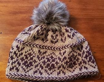 Hand Knit Fair Isle Hat Alpaca Wool Blend Super Soft