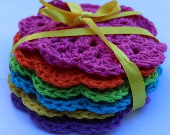Coasters - Set of 6, crocheted, bright & pretty