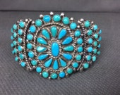 Vintage Zuni Petit Point Turquoise and Sterling Silver Cuff Bracelet