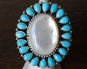 Tonya June Rafael Turquoise and Mother-of-Pearl Sterling Silver Ring, Size 8 (Adjustable)