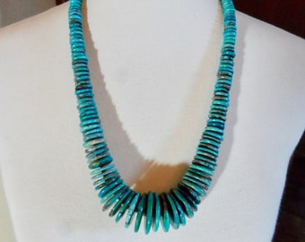 Large Graduated Turquoise Disc and Heishi Beaded Necklace