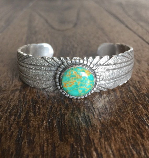 b260a17603b3 Andrew McCabe Sand Cast Sterling Silver and Turquoise Cuff