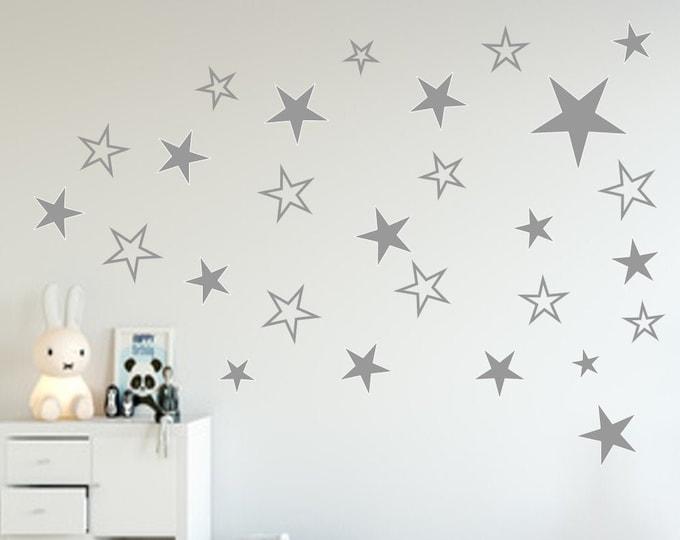 40 Star Decal Wall Tattoo Nursery Girl Boys