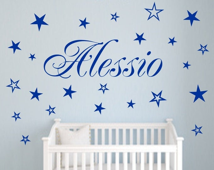 Wall Tattoo AA120 Names + 20 Stars Personalized Nursery Many Colors Grey Pink Pink Lilac Mint Turquoise.... Wall Stickers