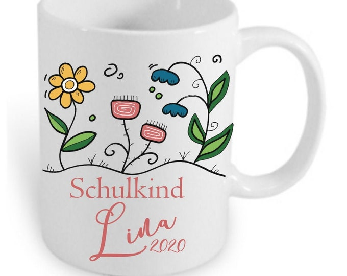 Cup with name SCHULKIND 2020 individually printed schooling first school day school bag girl boys