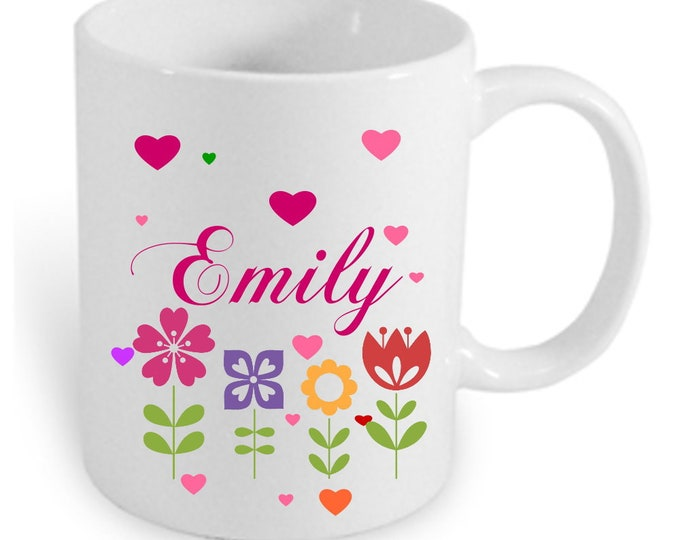 Cup with names and colorful flowers individually printed personalized gifts