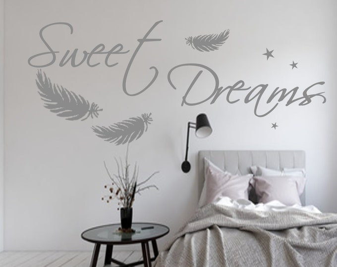 Wall decal SWEET DREAMS bedroom saying wall stickers stars feathers stickers