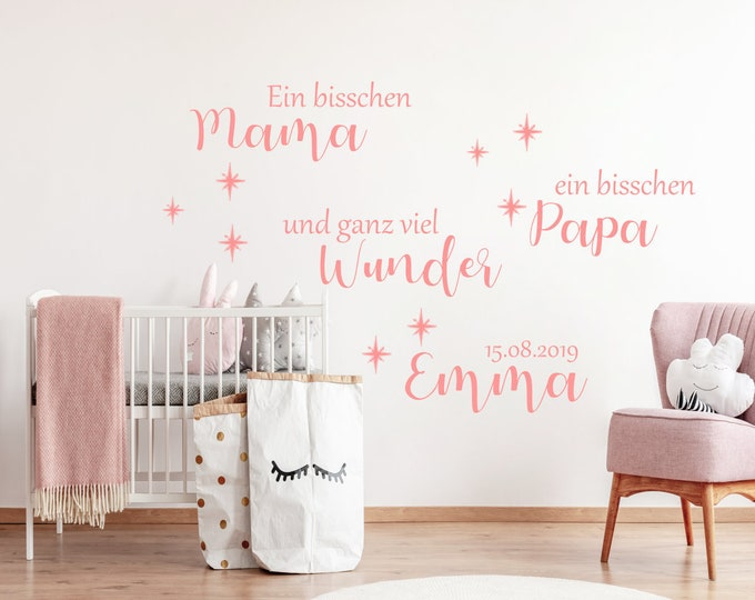 Baby Wall Decal A Bit Mom a Bit Dad... Wall Decal Wall Decal Girl Boy AA614 Name and Date Nursery ++